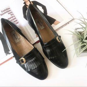 bally / vintage black loafers buckle fringe shoes